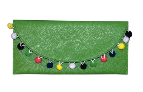 Kelly Green Pom Pom Clutch