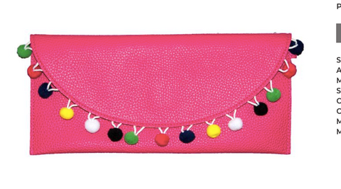 Hot Pink Pom Pom Clutch