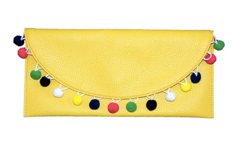 Yellow Pom Pom Clutch