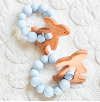Teething Rattle In Blue Bunny