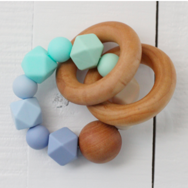 Teething Rattle In Ombre Blue