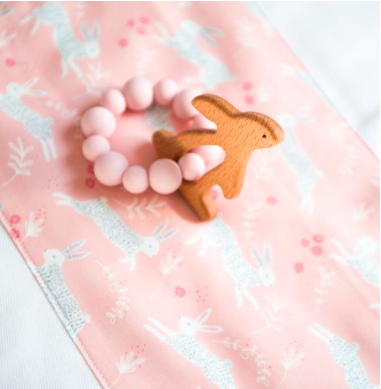 Peach Bunny Teething Ring