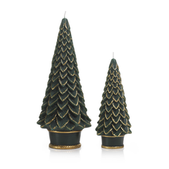 "Gold Trim 7"" Christmas Tree Candle"