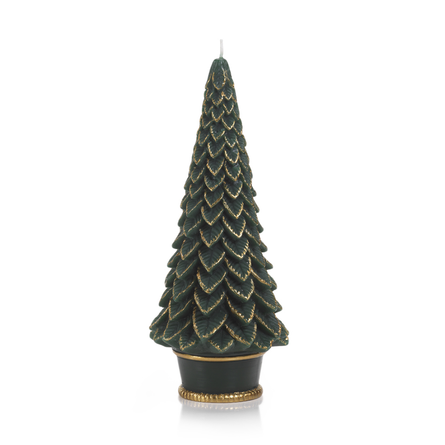 "Gold Trim 10.5"" Christmas Tree Candle"