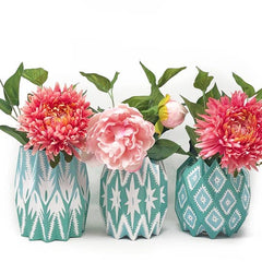 Teal Paper Vase Wrap (Set/3 Wraps)