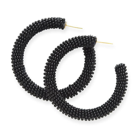 "Black Seed Bead 2.5"" Hoops"