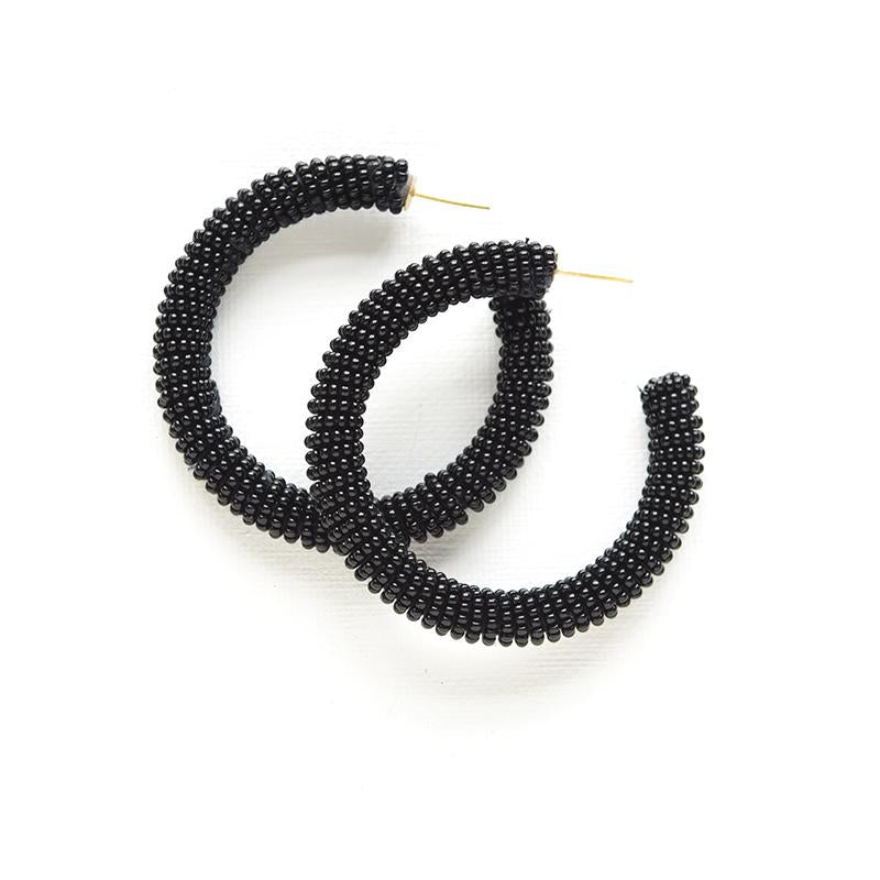 Solid Black Seed Bead Hoop