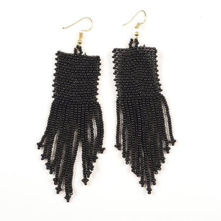 "Black Seed Bead Solid 3.75"" Earrings"