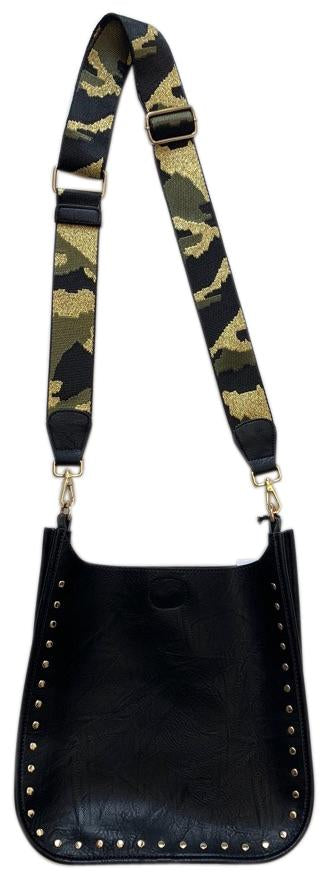 Black Messenger Bag w/ Gold Studs and Gold Camo Strap