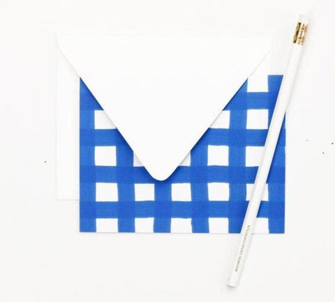 Blue and White Gingham Note Card Set