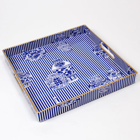Blue Ginger Jar Tray 13x13