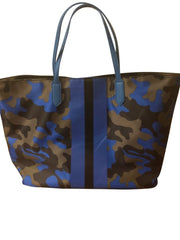 Blue Nylon Camo Tote w/ Stripe