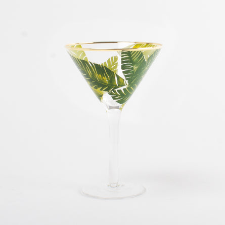 Palm Leaf Martini Glass (with Stem)