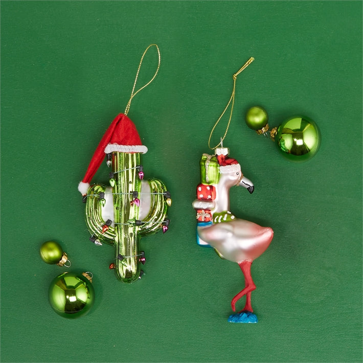 Cactus with Santa Hat Glass Ornament.