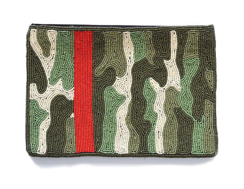 Camo Red Stripe Beaded Clutch