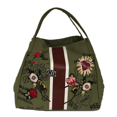 Canvas with Stripe Hobo Bag