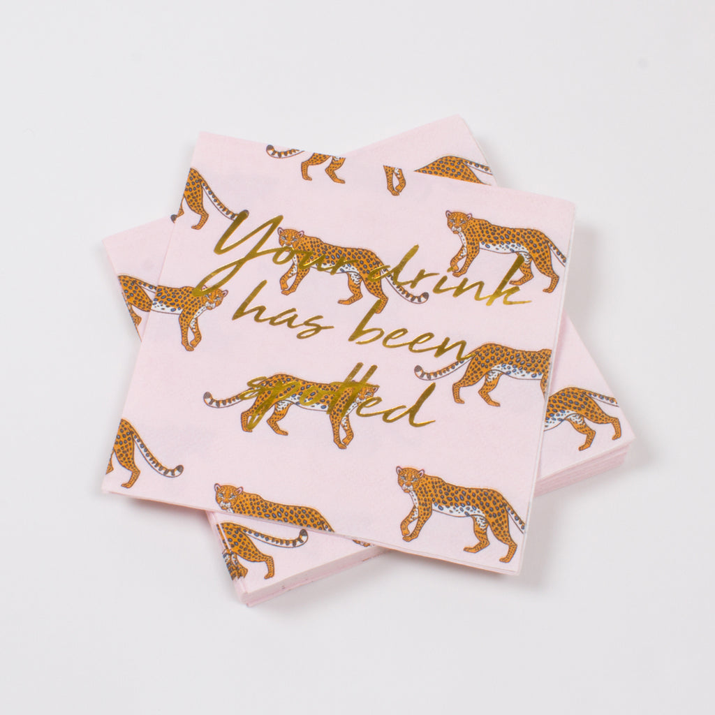 Cheetah Cocktail Napkin