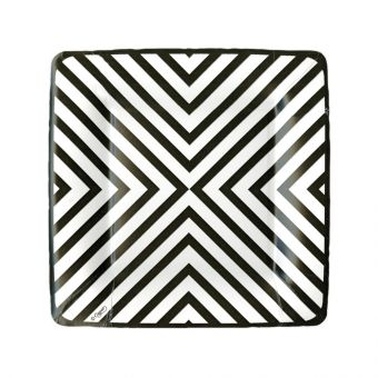 Chevron Black Square Dessert Plate