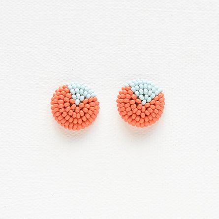 Coral & Light Blue Petite Seed Bead Button Post