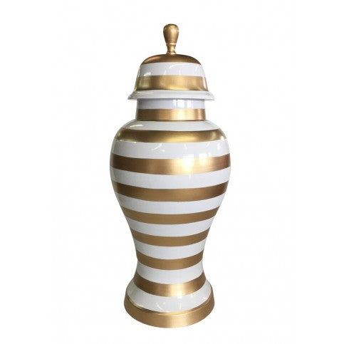 Small Gold Stripe Ginger Jar
