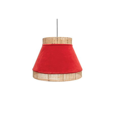 Orange Crush Velvet & Cane Pendant Lamp
