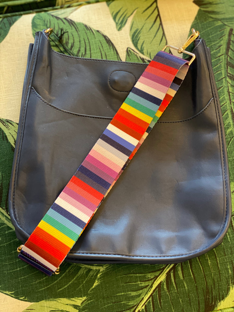 Navy Messenger Bag with Rainbow Stripe Strap