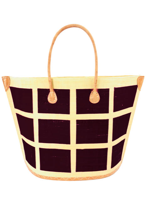 Capri Square Small Black Straw Tote Bag