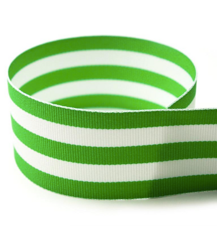 Preppy Green Striped Grosgrain Ribbon
