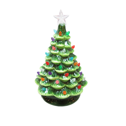 Vintage Style Ceramic Christmas Tree w/ Lights GREEN