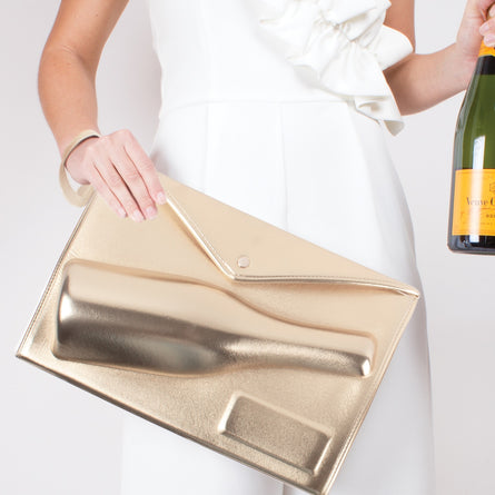 Large 3D Champagne Clutch Gold