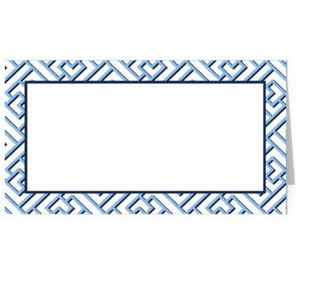 Blue Trellis Fretwork Placecards S/10