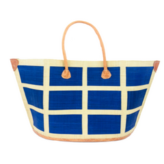 Capri Square Small Blue Straw Tote Bag