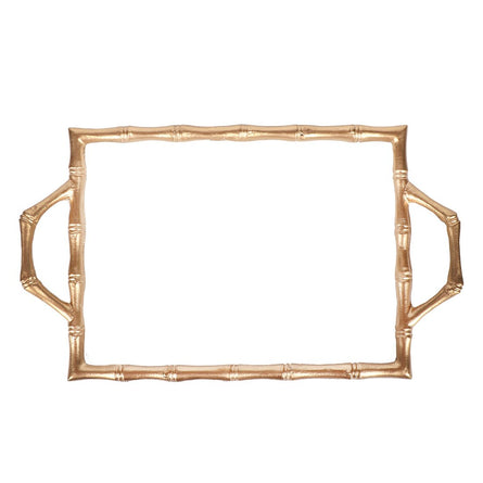 White Color Block Bamboo Tray  10x14