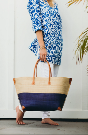 Monterey Navy Straw Bag