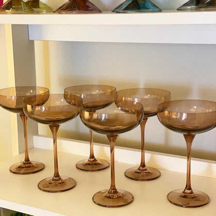 Amber Smoke Estelle Colored Champagne Coupe Stemware - Set of 6