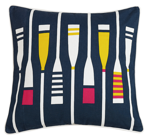 Oars Navy Pillow 20x20