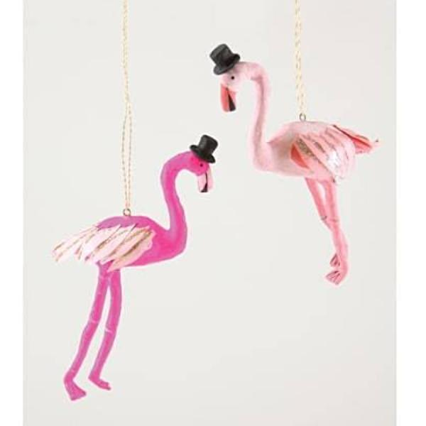 Flamingo with Top Hat Ornament