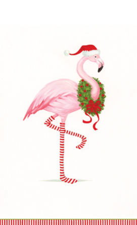 Christmas Flamingo White Guest Towel