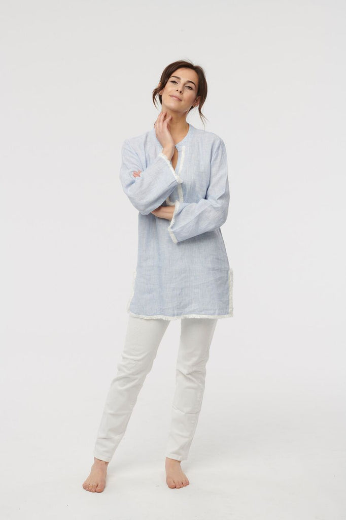 Powder Blue Classic Linen Tunic
