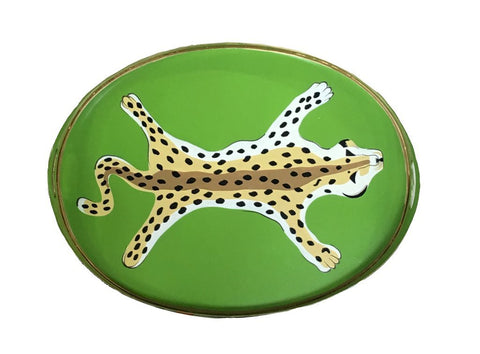 Oval Leopard Tray In Green