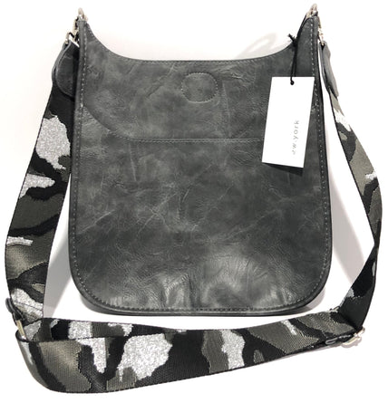Grey Messenger Bag w/ Silver Camo Strap