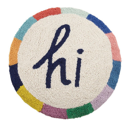 """Hi"" Round Pillow"