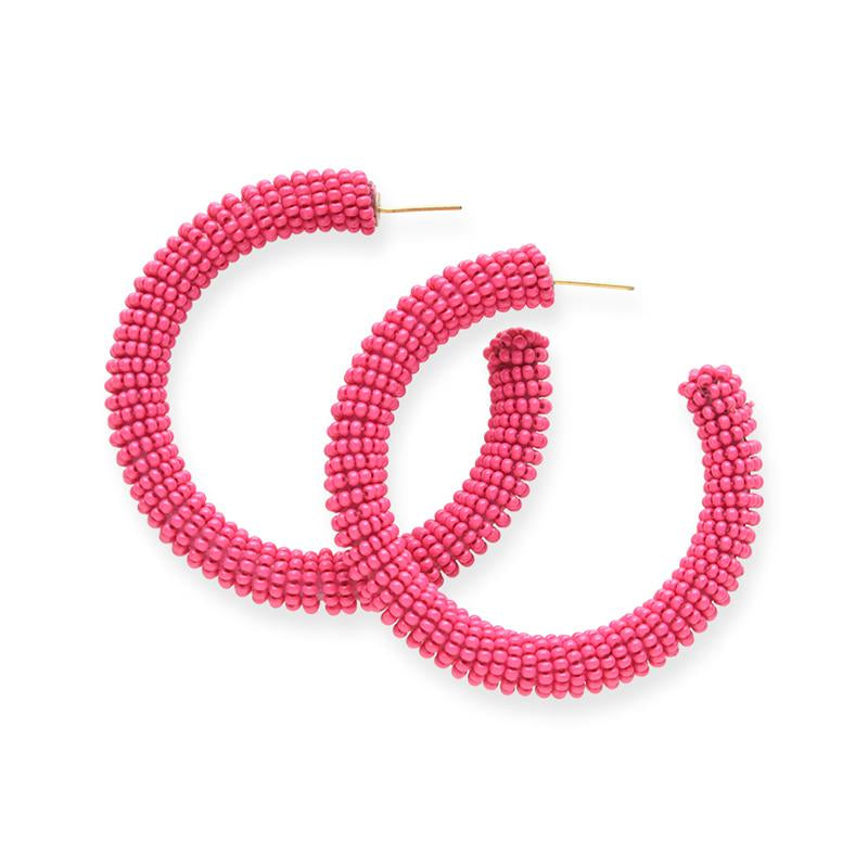 "Hot Pink Seed Bead 2.5"" Hoops"