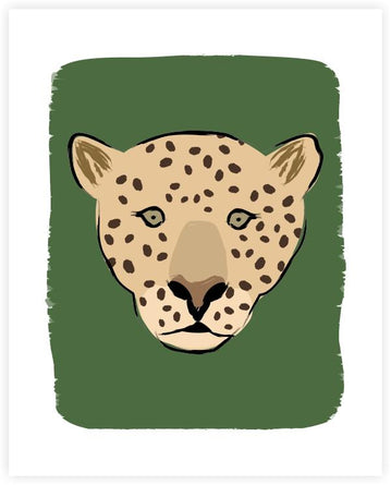 Green Leopard FACE Art Print 8x10