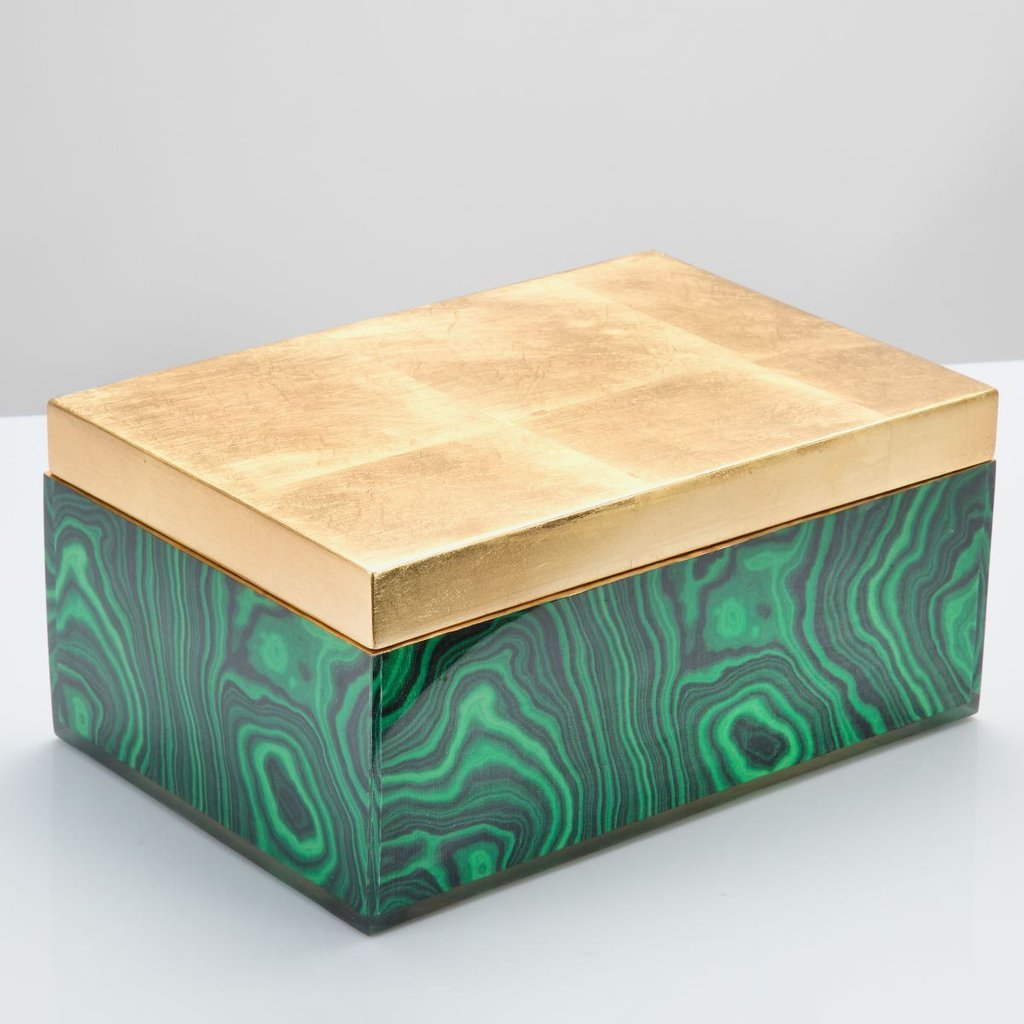 Malachite Box with Gold Top
