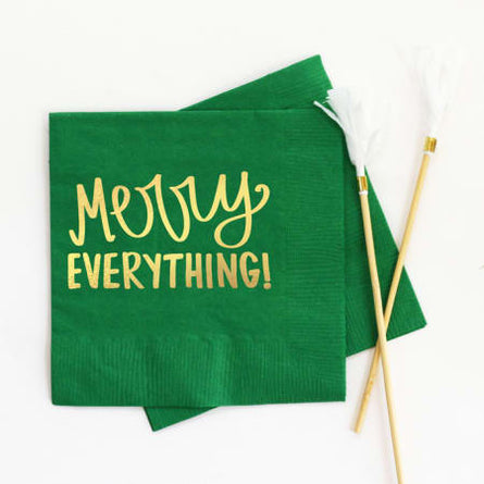 Merry Everything Napkins Green