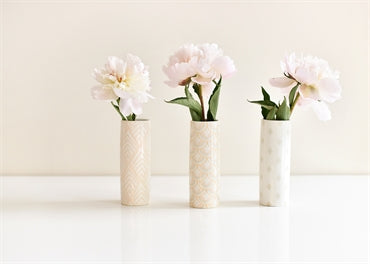 "S/3 6"" Blush Tube Vases"