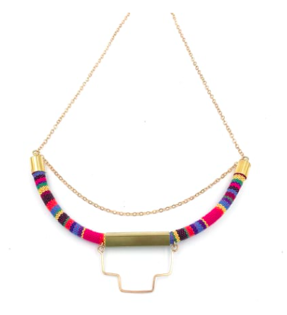 Multicolored Cord Geo Necklace