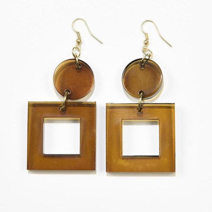 Olive Lucite Square Dangle Earrings 2.5""