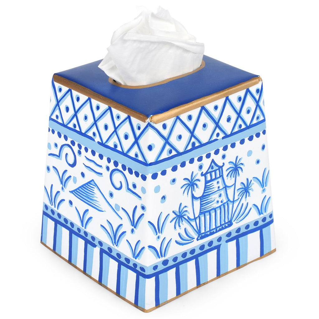 Pagoda Tissue Box Cover - White & Blue